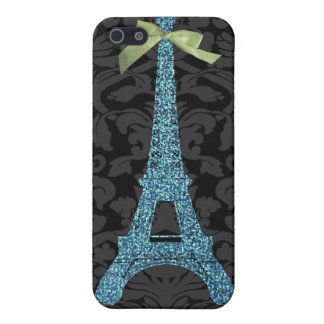 Blue Eiffel Tower in faux glitter Cover For iPhone 5/5S