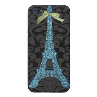 Blue Eiffel Tower in faux glitter iPhone 5 Case