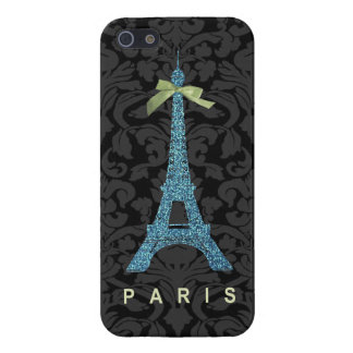 Blue Eiffel Tower in faux glitter iPhone 5 Cases