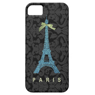 Blue Eiffel Tower in faux glitter iPhone 5 Covers