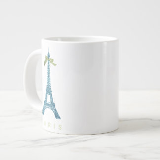 Blue Eiffel Tower in faux glitter Large Coffee Mug