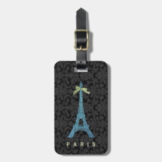Blue Eiffel Tower in faux glitter Luggage Tag
