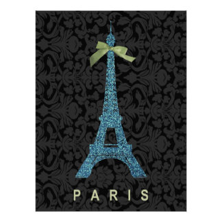Blue Eiffel Tower in faux glitter Poster