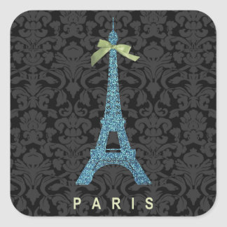 Blue Eiffel Tower in faux glitter Square Sticker