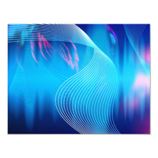 Blue Electric Audio Waveform Abstract 4.25x5.5 Paper Invitation Card