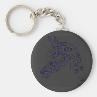 blue Electric Basic Round Button Key Ring