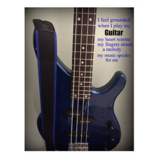 Blue Electric Guitar with Saying Postcard