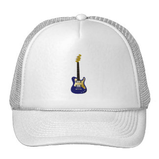 Blue electric guitar yellow fizzle headstock mesh hats