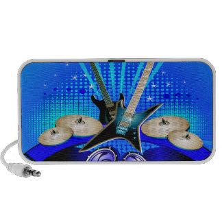 Blue Electric Guitars Drums Speakers Travel Speakers