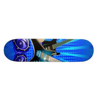 Blue Electric Guitars, Drums & Speakers 20.6 Cm Skateboard Deck