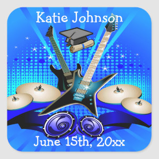 Blue Electric Guitars, Drums & Speakers Grad Party Square Sticker