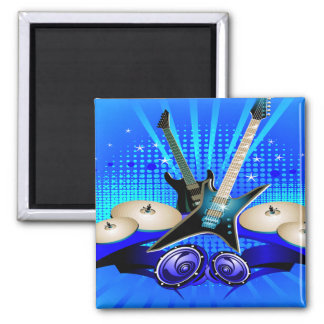 Blue Electric Guitars, Drums & Speakers Magnet