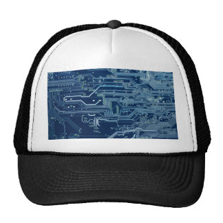 blue electronic circuit board computer pattern hats