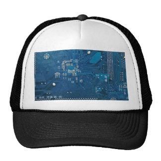 blue electronic circuit board computer pattern mesh hat