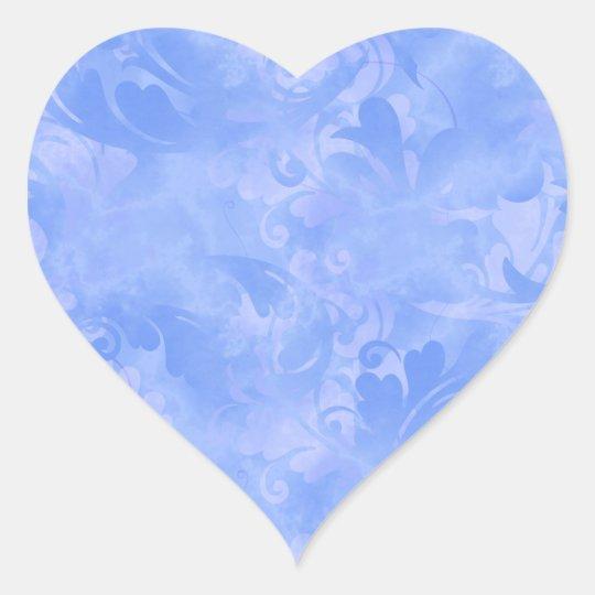 Blue Elegance Aqua Subtle Winter Azure Sapphire Heart Sticker