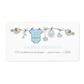 Blue elegant baby boy clothes announcement shipping label
