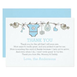 Blue elegant babyboy clothes thank you BABY SHOWER Card