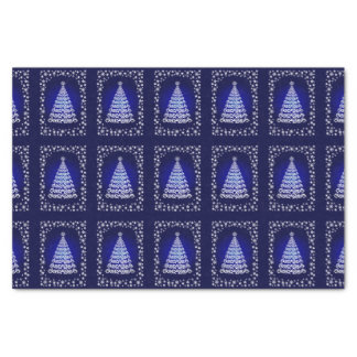 Blue Elegant Christmas Tree And Stars Tissue Paper