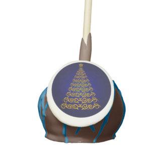 Blue Elegant Christmas Tree Cake Pops