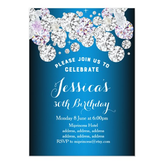 blue elegant diamond, glitter birthday invitation