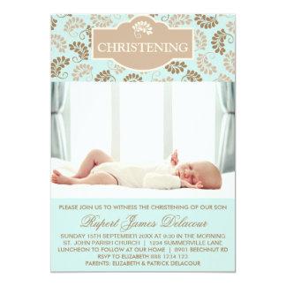 Blue Elegant Floral Christening Photo invitation