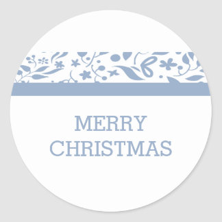 Blue Elegant Foliage Holiday Classic Round Sticker