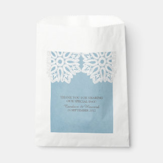 Blue Elegant Lace Favor Bags