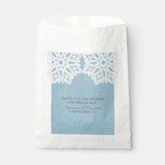 Blue Elegant Lace Favor Bags Favour Bags