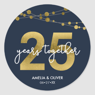 Blue Elegant Lights 25th Wedding Anniversary Classic Round Sticker