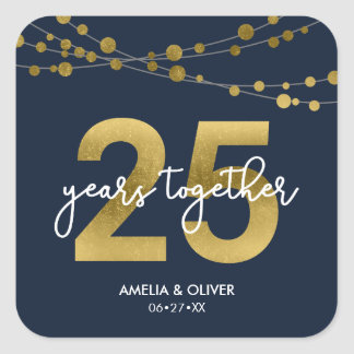 Blue Elegant Lights 25th Wedding Anniversary Square Sticker