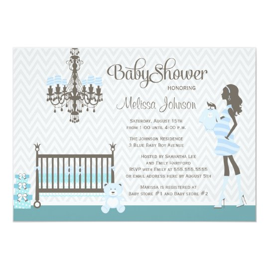 Blue elegant nursery baby boy shower invitation
