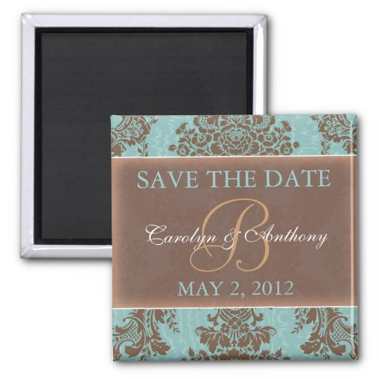 Blue Elegant SAVE THE DATE Magnet