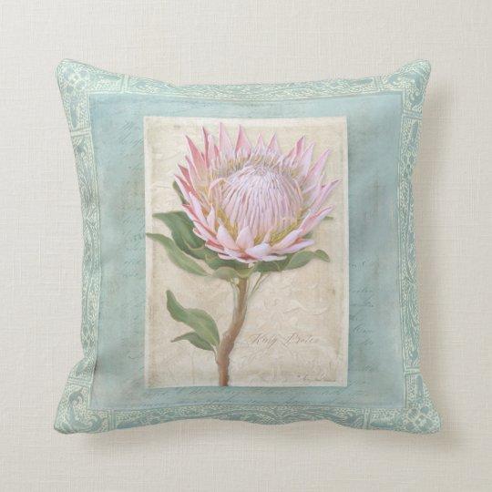 Blue Elegant Vintage Modern Floral Pink Protea Cushion
