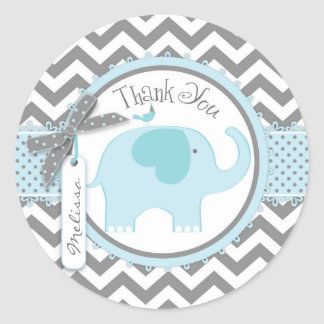 Blue Elephant and Chevron Print Thank You Classic Round Sticker
