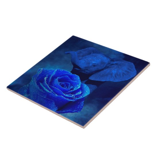 Blue Elephant and Rose Tile
