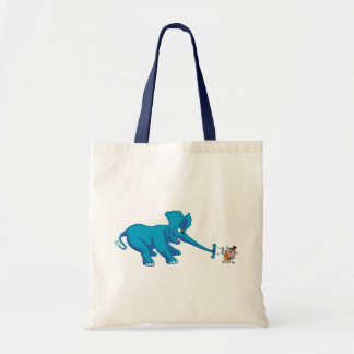 Blue Elephant and the Circus Strong Cat Tote Bag