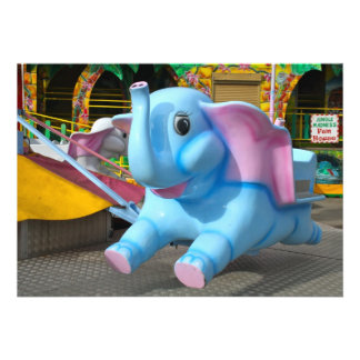 Blue Elephant at a Fun Fair Invitation