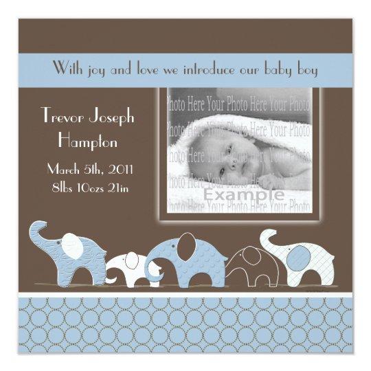 Blue Elephant Baby Boy Announcement