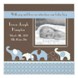 "Blue Elephant Baby Boy Announcement 5.25"" Square Invitation Card"