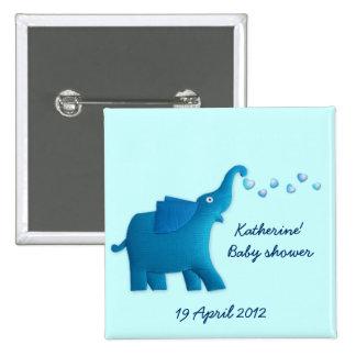 blue elephant baby shower 15 cm square badge