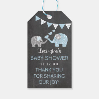 Blue Elephant Baby Shower Chalk Look Thank You Gift Tags