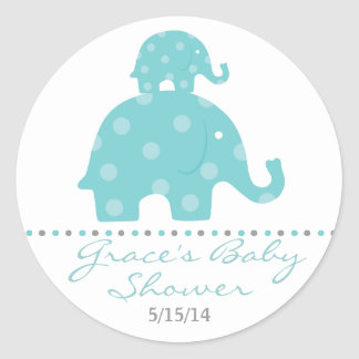 Blue Elephant Baby Shower Favor Stickers
