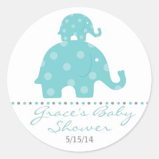 Blue Elephant Baby Shower Favor Stickers