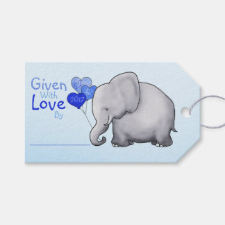 Blue Elephant Baby Shower Given with Love Gift Gift Tags