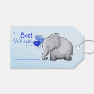 Blue Elephant Baby Shower With Best Wishes Gift Gift Tags