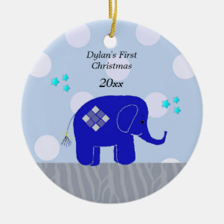 Blue Elephant Baby's First Christmas Christmas Ornament