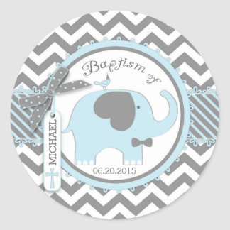 Blue Elephant Bow Tie and Chevron Print Baptism Classic Round Sticker