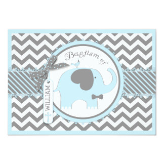 Blue Elephant Bow Tie and Chevron Print Baptism 13 Cm X 18 Cm Invitation Card
