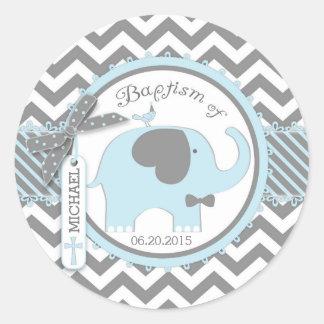 Blue Elephant Bow Tie and Chevron Print Baptism Round Sticker