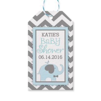 Blue Elephant Bow-tie Bird Chevron Baby Shower